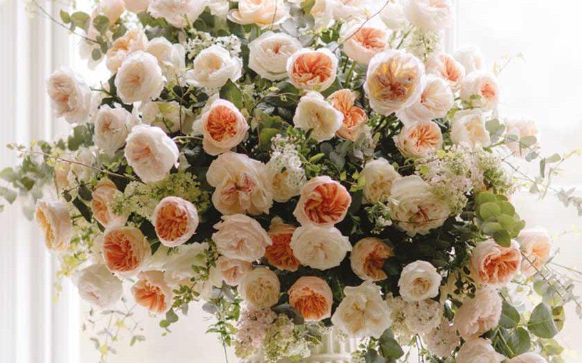 garden rose urn arrangement