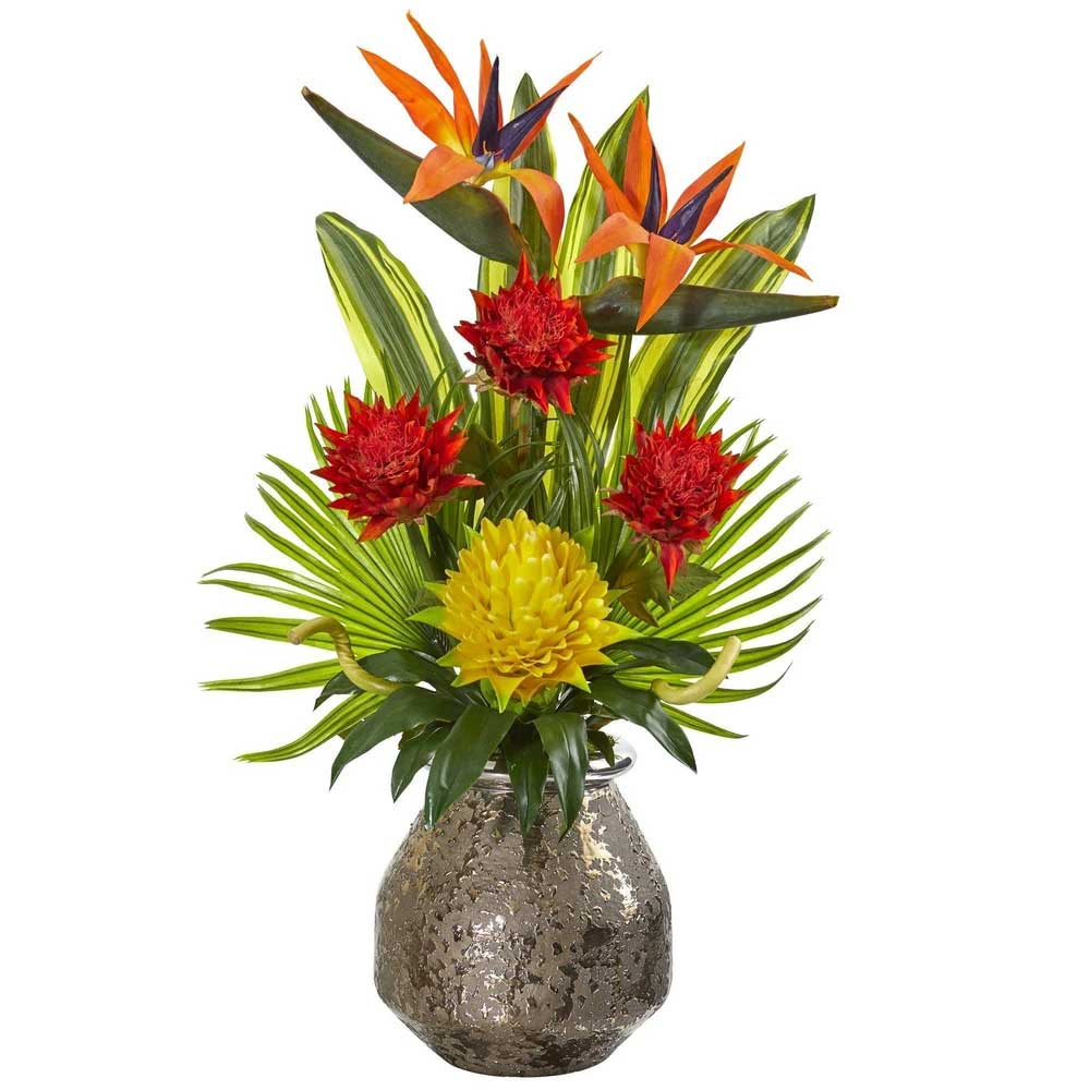 tropical contemporary silk flower arrangements