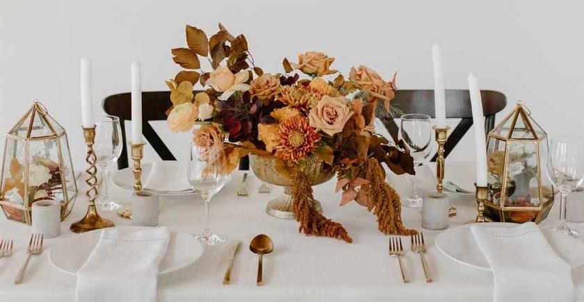 compote arrangement using a floral pillow