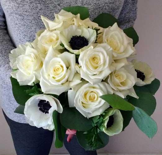 wedding bouquet with anemones